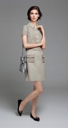 Tweed and two-colour braided, dual-fabric dress - Two-material dresses - Dresses - Fall 2015 - New Collection
