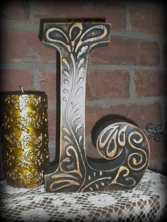"""Lovely letter """"L"""" with raised design & pretty soft wood undertones..."""