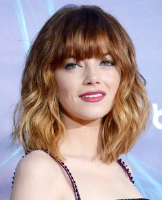For an instant update, opt for fringe that falls past the brow like Emma Stone. The wispy length softly frames her features and can easily be swept to the side for a whole new look.