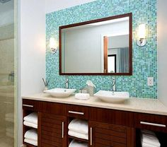 what a great bathroom design - from the glass tiles to the modern sinks just love it. -House of Turquoise -- colors & big mirror! Architecture Bathroom, Modern Sink, Glass Mosaic Bathroom, Home Decor, Bathroom Mirror, Mosaic Bathroom, Bathroom Design, Bathroom Decor, Tile Bathroom