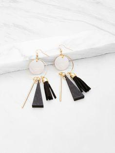 Triangle And Tassel Detail Drop Earrings