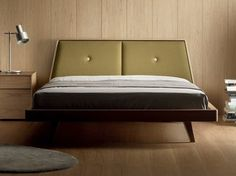 Wooden double bed with upholstered headboard LOA - TREKU