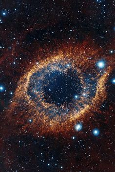 NGC 7293, also known as Helix Nebula. Image by ESO, using a different palette from NASA.