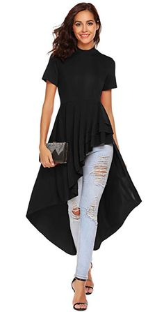 SimpleFun Womens Ruffle High Low Asymmetrical Short Sleeve Bodycon Tops Blouse Shirt Dress - Wine Red X-Large Cap Dress, Blouse Dress, Peplum Dress, Bodycon Dress, Plus Size Maxi Dresses, Short Sleeve Dresses, Look Fashion, Fashion Outfits, Bodycon Tops