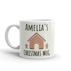 Christmas / Gingerbread Child's Mug - Cute Personalised Children's Xmas Gift - Small 6oz Ceramic Cup for Kids Christmas Gingerbread, Christmas Mugs, Xmas, Ceramic Cups, Small Gifts, Ceramics, Children, Tableware, Cute