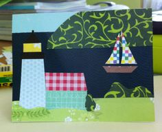 """The """"Quilt Series"""" sailing the Bras d'Or! or wherever your heart sails! The perfect card for the adventurer  in your life. Blank on the inside for your favorite sailing quote and the front and back of envelope is a coordinating stamp. www.Etsy.com/ca/shop/rr1designsbydiane"""