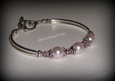 Conjunto de Dama de honor de: Rosa pulsera por beadedjewelryforyou