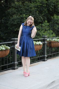 A Navy Dress Perfect to Wear to a Summer Wedding + a Party Clutch and Coral Pink Mules | Glitter & Spice
