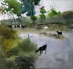 One persons attempt to become a good artist painting in watercolour, experiences along the way and discussion of all things connected with it. Watercolor Water, Watercolor Landscape Paintings, Watercolor Artists, Gouache Painting, Watercolor Animals, Artist Painting, Landscape Art, Watercolor Pictures, Urban Sketching