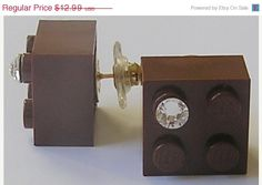 ON SALE Brown LEGO R brick 2x2 with a Diamond by MademoiselleAlma, $9.09