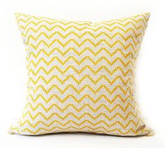 Yellow Cushion- Linen Cushion- Geometric Cushion- Yellow Grey- Printed Linen…