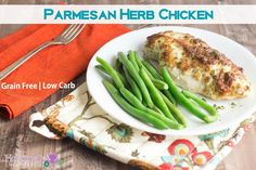 """<p>This low-carb and grain-free chicken is so easy to prepare and is juicy and full of flavor!</p> <p><a href=""""http://holisticallyengineered.com/2015/03/low-carb-parmesan-herb-chicken.html"""" target=""""_blank"""">Get the recipe!</a></p>"""