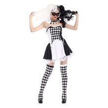 Killer Clown Costume Joker Girl Costume Creepy Clown Black and White Check Pattern Fancy Dress Halloween Costumes Twintail Wig(China (Mainland))
