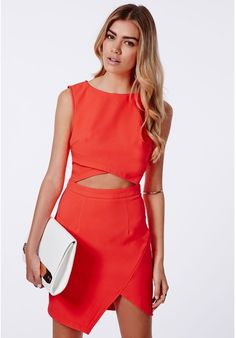 Evie Crepe Cut Out Asymmetric Bodycon Dress Neon Coral