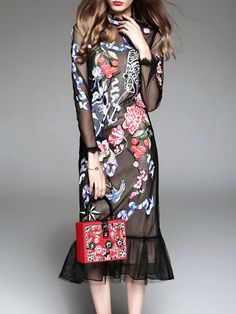#AdoreWe #StyleWe MOOERKERR Black Two Piece Polyester Vintage Midi Dress - AdoreWe.com