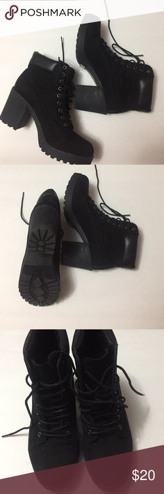 Black suede combat boots with chunky heels Barely worn, slight scuffing on the heel rouge Shoes Heeled Boots