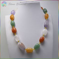 Stock Sale Natural Semi Precious Stone Tumbled Nugget Beads Necklace 13x18~15x20mm - Crystal,Amethyst,Aventurine