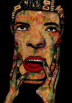 "Saatchi Art Artist CARMEN LUNA; Painting, ""54-RETRATOS Expresionistas.  Sorpresa."" #art http://www.saatchiart.com/art-collection/Painting-Assemblage-Collage/Expressionist-Portrait/71968/51263/view"