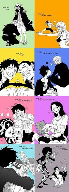 """One Piece, """"From you..."""" Tradução:  De você, o orgulho.   De você, o caminho a seguir. De você, a confiança. De você, a força para viver.  De você, o consolo da batalha.  De você, o conhecimento do mundo.   De você, pés para seguir em frente.   De você, a marcha da esperança."""
