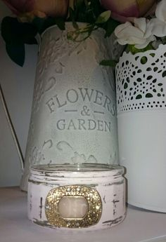 Upcycled Shabby Chic Glass Pot