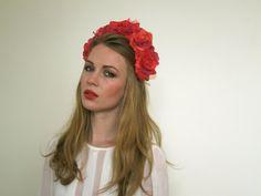 Red Pink Fuchsia Rose Flower Crown - Mardi Gras Flower Crown - Lana Del Rey Flower Crown