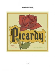 cross stitch pattern Picardy Rose crate label