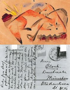 Postcards by Franz Marc, 1913. Source. Two Foxes – to Albert Bloch in Munich, 4 February 1913