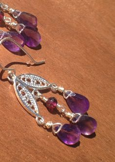 Filigree Tulip Dangle Earrings with Amethyst and by nemesisjewelry, $40.00