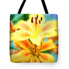 "Yellow Lilies Tote Bag by Flamingo Graphix John Ellis (18"" x 18"").  The tote bag is machine washable, available in three different sizes, and includes a black strap for easy carrying on your shoulder.  All totes are available for worldwide shipping and include a money-back guarantee."