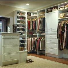 Tips in Creating Master Bedroom Closet with Multi-Function Design : Walkinhers Large Walking Closet Closet Design Ideas Furniture Glamorous Brown Walk In Closet Design Idea With Gray White Clothes White Boxes And Open Shelves With Shoes Awesome Custom Closet Design, Walk In Closet Design, Wardrobe Design, Closet Designs, Custom Closets, Closet Walk-in, Closet Storage, Closet Ideas, Closet Organization