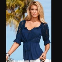 Boston Proper Lazer cut peasant top Gorgeous navy blue top, looks and feels so luxurious. Bundle for discount Boston Proper Tops Blouses