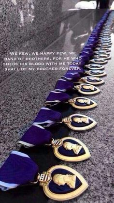 The Purple Heart - for those who have been wounded or killed in action while serving in the U.S. military. God bless our military!