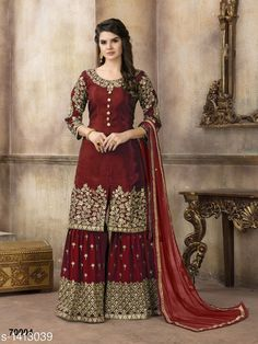 Buy Pakistani Suits online from Tithli Fashion. Shop from a fascinating collection of Pakistani Shalwar Kameez & Designer Suits. Divine Maroon Color Pure Viscose Upada Silk Embroidered Party Wear Pakistani Suit Make heads turn by donning this splendid ma Pakistani Bridal Dresses, Pakistani Dress Design, Indian Dresses, Indian Outfits, Designer Party Wear Dresses, Designer Salwar Suits, Style Palazzo, Palazzo Suit, Trajes Pakistani