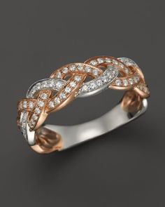 Diamond Braided Band in 14K Rose and White Gold, .55 ct. t.w.