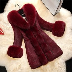 Winter Womens Faux Fur Parka Trench Coat New Slim Fit Long Jacket Casual Outwear in Clothing, Shoes & Accessories, Women's Clothing, Coats & Jackets Fur Collar Coat, Fur Collars, Leather Collar, Winter Coats Women, Coats For Women, Fur Decor, Women's Teddies, Vetement Fashion, Teddy Coat