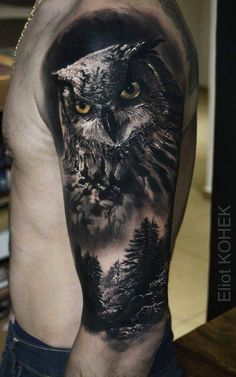 realistic owl tattoo on shoulder Wolf Tattoos, Animal Tattoos, Tatoos, Owl Tattoo Design, Best Tattoo Designs, Neue Tattoos, Body Art Tattoos, Trendy Tattoos, Tattoos For Guys