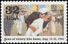 Stamp: World War II - Sailor kissing nurse (United States of America) (World War II) Mi:US 2624,Sn:US 2981i,Yt:US 2414