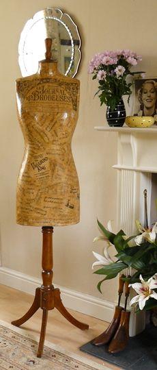 vintage decoupaged mannequin