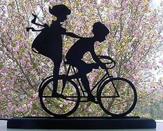 Vintage Girl On Bicycle | Boy and Girl Sharing a Bicycle Silhouette by mountainbrook on Etsy