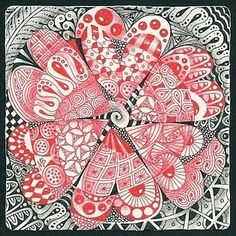 Zentangles - love hearts