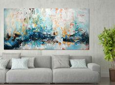 Pintura abstracta grande azul verde arte abstracto por FineArtSeen