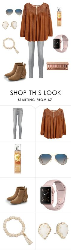 """Going to try to make a set everyday "" by mae343 on Polyvore featuring 7 For All Mankind, H&M, Ray-Ban, American Eagle Outfitters, Kendra Scott and Urban Decay"