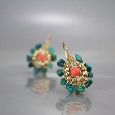 Turquoise Earrings Gemstone Earrings Coral by yifatbareket on Etsy
