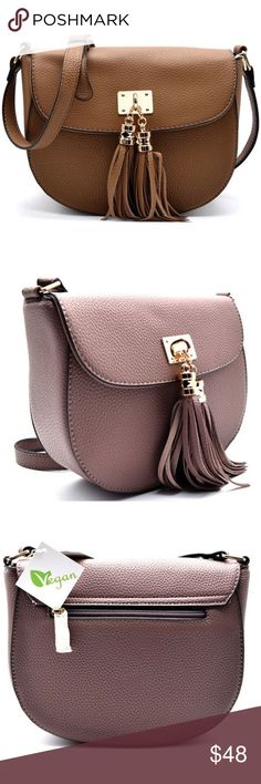"""Boho Pebble Vegan Leather Crossbody Tassel Handbag PLEASE SEE ADDITIONAL POST TO ORDER ~Beautiful Pebble Vegan Crossbody & Tassel Accent and Gold Tone Hardware. Accent Flap, Zipper Opening and Magnetic Snap with Tassel. Back exterior zipper pocket. Interior has 1 zipper pocket and 2 slip pockets. Size: 8.5""""L x 7.5""""H and Adjustable Crossbody Strap. Colors: Mauve, Stone, Black & Navy Blue. No Trades. Price is Firm Unless Bundled. BUNDLE 2 Items 10% Off 3 Items 15% Off. GlamVault Bags Crossbody…"""