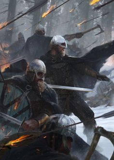 Norse Warriors in the Snowy Forest Fantasy Concept Art, Fantasy Character Design, Fantasy Artwork, Character Art, Warrior Concept Art, Fantasy Battle, Fantasy Warrior, Medieval Fantasy, Dark Fantasy