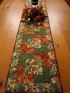 AUTUMN Autumn Colors Fall Table Runner, could make matching placemats Patchwork Table Runner, Table Runner And Placemats, Table Runner Pattern, Quilted Table Runners, Fall Placemats, Placemat Sets, Thanksgiving Table Runner, Project Table, Fall Sewing