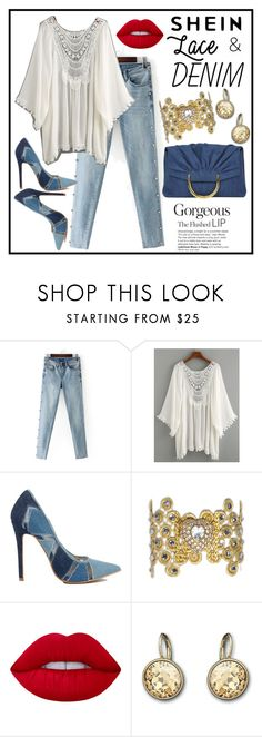 """SheIn Lace Trimmed Kimono"" by terryandjim ❤ liked on Polyvore featuring Lime Crime, Swarovski and STELLA McCARTNEY"