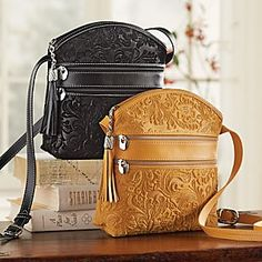 """Florentine Suede Embossed Floral Bag - Made in Italy.  7 1/4""""W x 8 1/4""""H; 56"""" adjustable strap"""