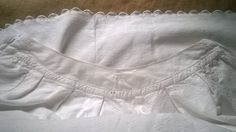 Rare long and wide prairie skirt scalloped. White Antique 1850's French quilted…