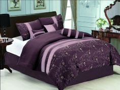 """7 Pc Elegant Embroidered Floral Comforter Set Bed In A Bag Queen Purple/Lavender by Jaba. $76.99. 1 Pc Bedskirt (60"""" x 80"""" + 14"""" Drop). 1 Pc Square Cushion. 1 Pc Breakfast Pillow, 1 Pc Neckroll. 2 Pcs Standard Pillow Shams (20"""" x 28""""). 1 Pc Queen Size Comforter (86"""" x 86""""). 7 Pcs Luxury Comforter Set  This is a very attractive comforter set.  This comforter set will give your room a new look!      Style#: 20603     Condition: Brand New     Size: Queen     Design:..."""